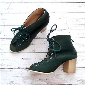 BOUTIQUE Lace Up Open Toe Forest Elf Boho Heels.